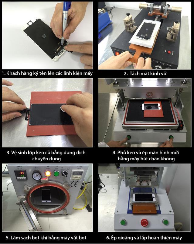 Quá trình ép kính iPhone tại Yourphone Service