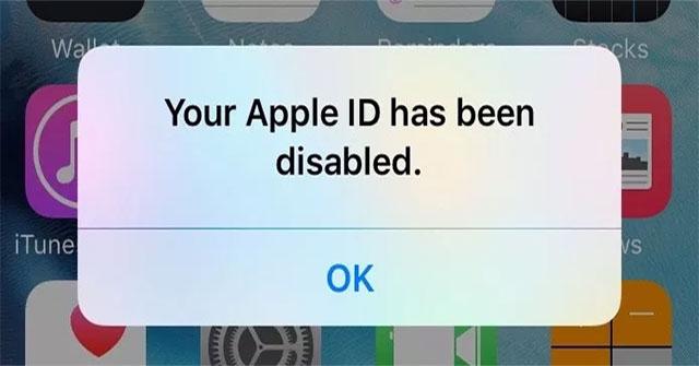 Ảnh minh họa tài khoản ID Apple bị vô hiệu hóa.