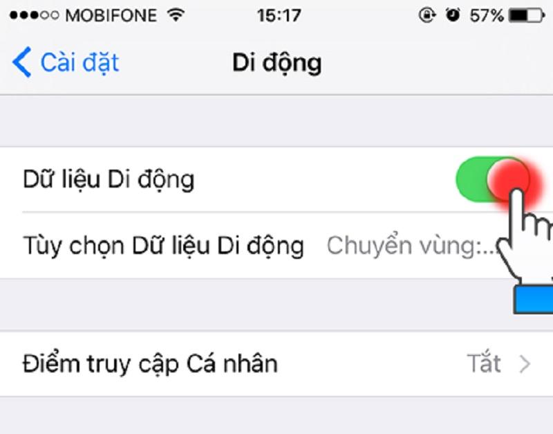 Bật dữ liệu di động trên iPhone