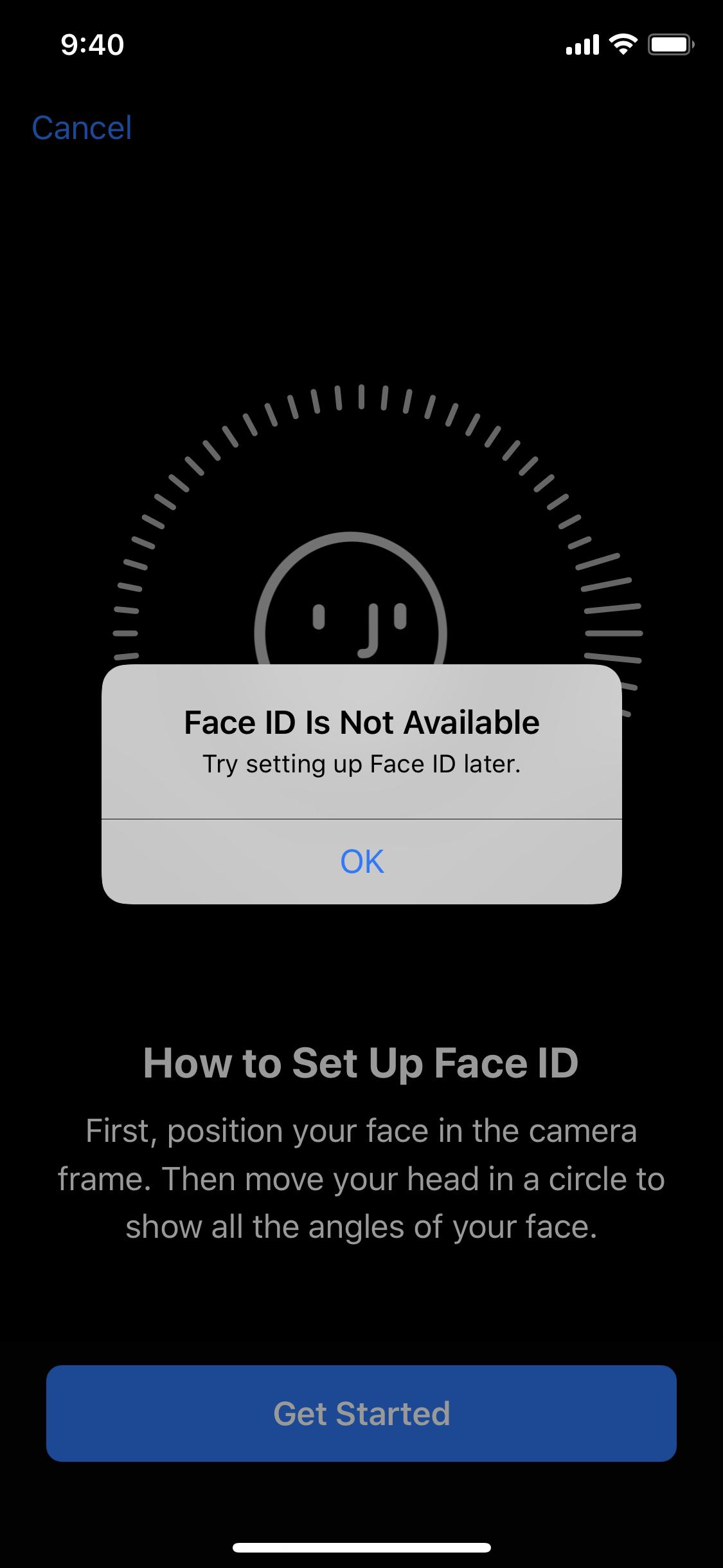 Lỗi Face ID iPhone không khả dụng