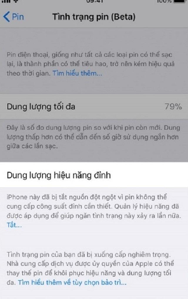 Pin iPhone cần thay mới
