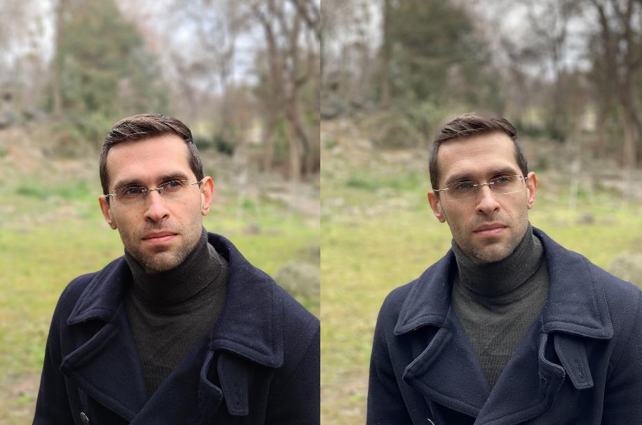 Ảnh chụp chân dung của Samsung S20 Ultra ( bên trái) và iPhone 11 Pro Max (bên phải)