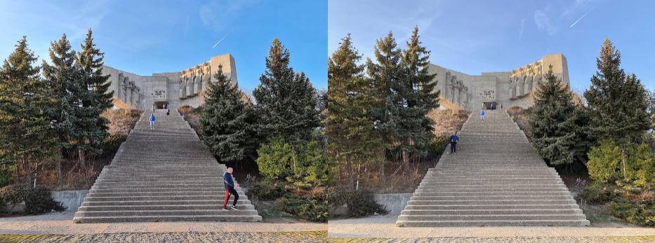 Ảnh chụp phong cảnh ban ngày của Samsung S20 Ultra ( bên trái) và iPhone 11 Pro Max (bên phải)