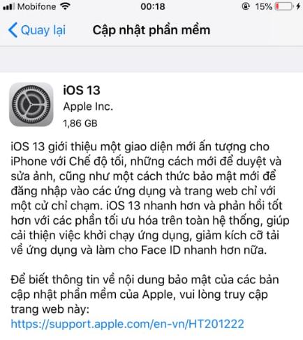 Cập nhật phần mềm iPhone để hạn chế tình trạng máy sập nguồn
