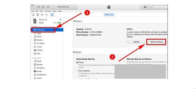 Bấm chọn restore iPhone