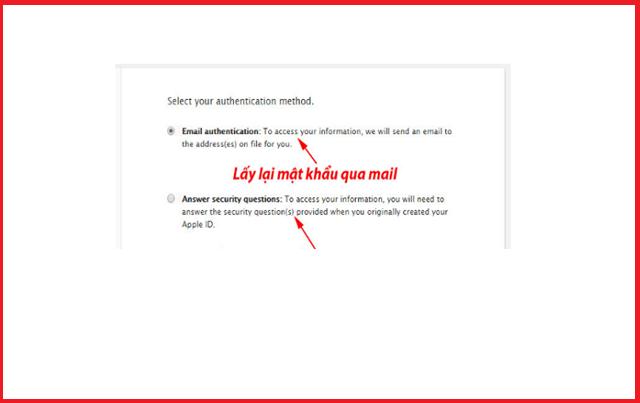 Click vào email để fix lỗi iPhone dính iCloud