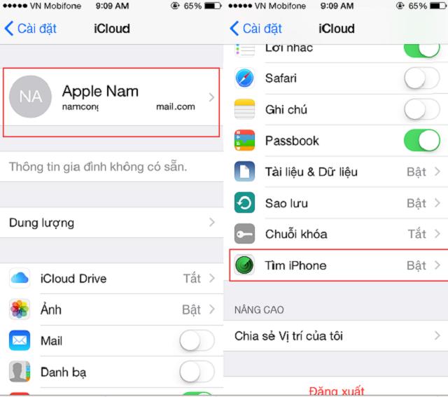 Chọn mục Tìm iphone trong iCloud