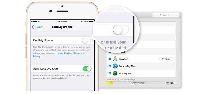 Gạt sang trái để tắt tìm iPhone