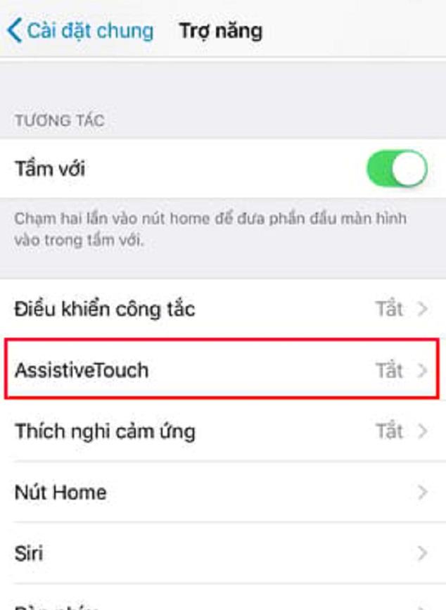 Nhấn chọn Assistive Touch để thiết lập nút home ảo trên iPhone